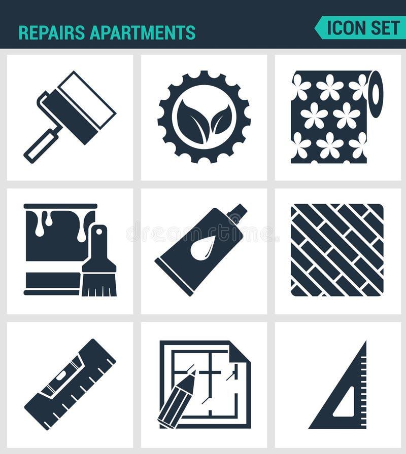 Set nowożytne ikony Napraw mieszkania rolkowa przekładnia, tapeta, farba, kleidło, deskowego pozioma układ, kwadrat Czerń znaki ilustracja wektor