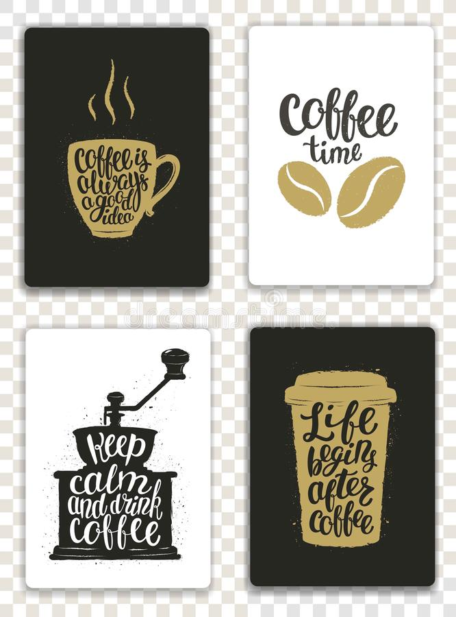 Set nowożytne karty z kawowymi elementami i literowaniem Modni modnisiów szablony dla ulotek, zaproszenia, menu projekt ilustracja wektor