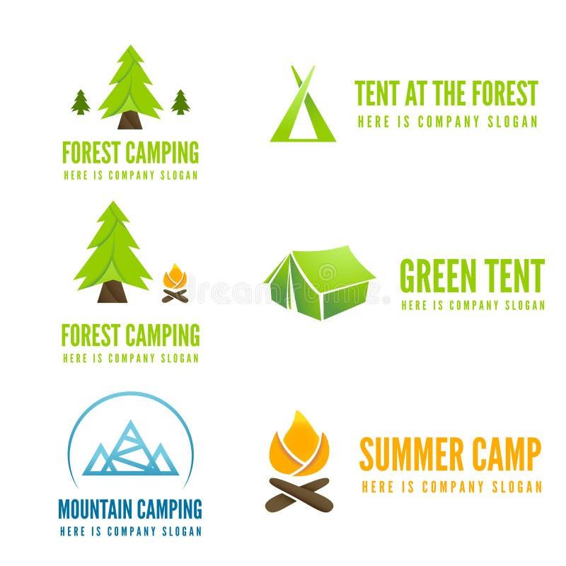 Set nowożytne obozowe odznaki, logo, emblemat i royalty ilustracja