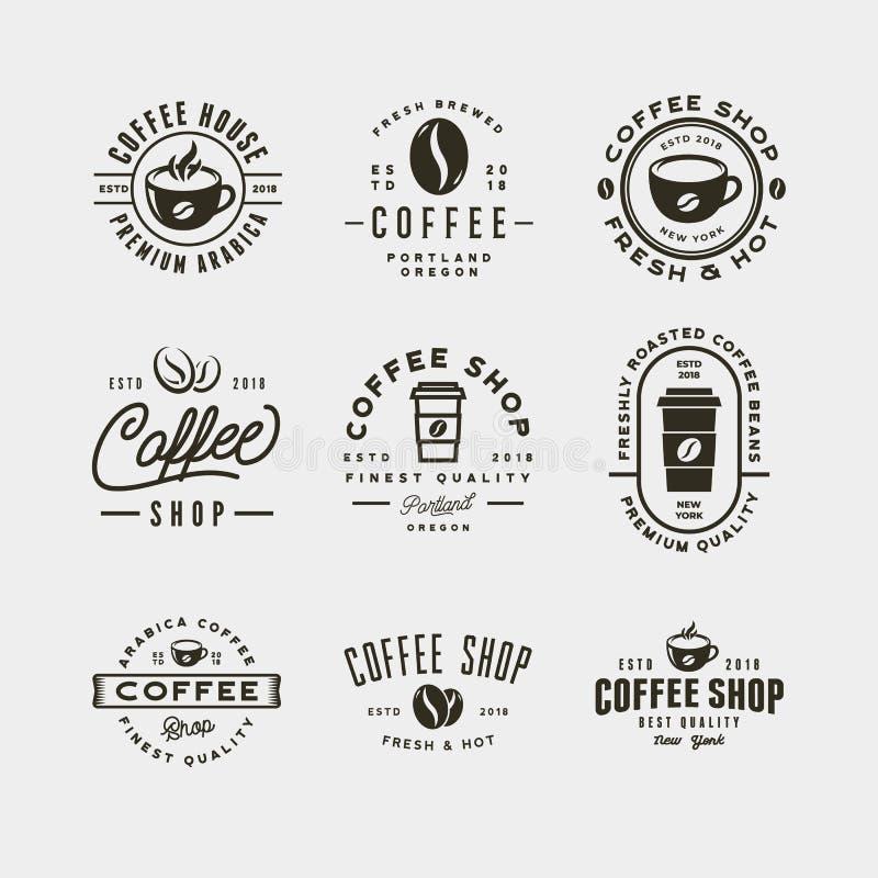 Set nowożytne rocznika sklep z kawą etykietki również zwrócić corel ilustracji wektora royalty ilustracja