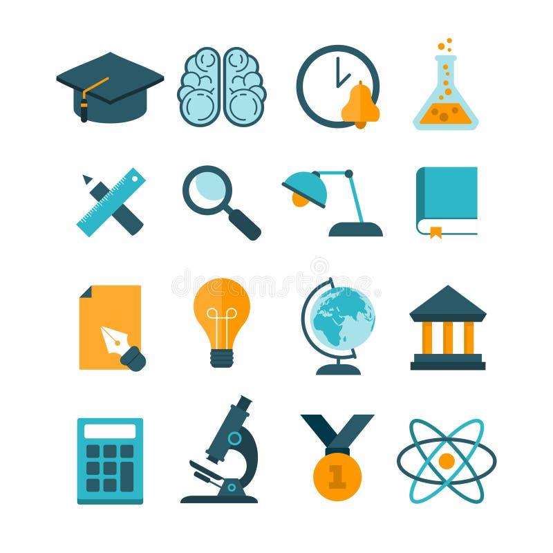 Set nowożytne wektorowe edukacj ikony ilustracja wektor