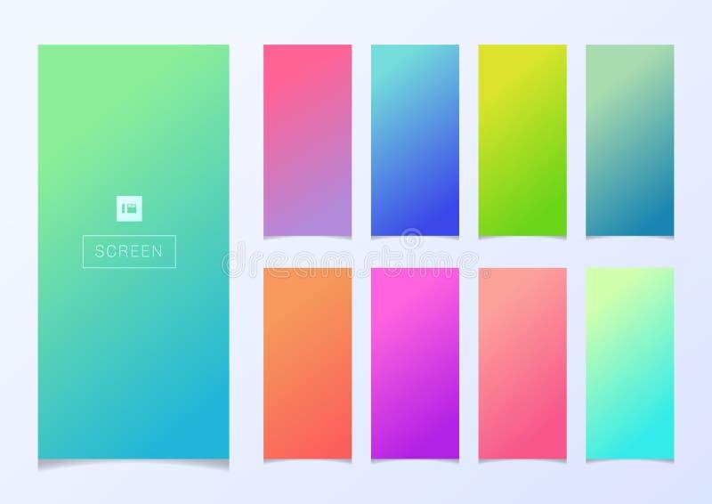 Set nowożytnego smartphone ekranu koloru szablonu gradientowy Miękki projekt dla tapetowego tła ilustracji