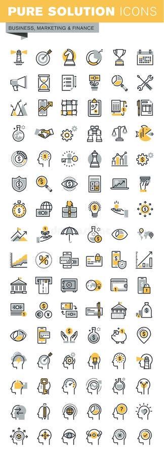 Set nowożytnego wektoru biznesowe i finansowe cienkie kreskowe ikony ilustracji