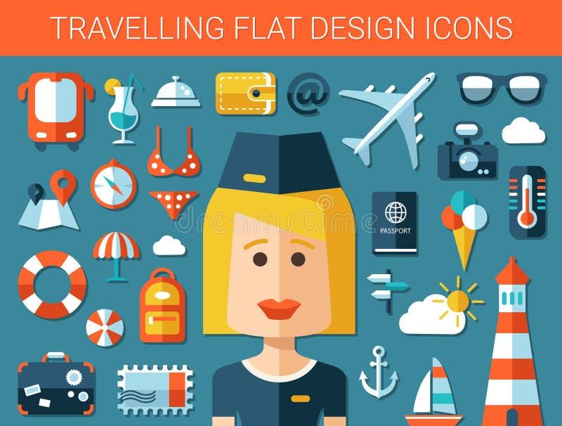 Set nowożytnej podróży projekta płaskie ikony ilustracji