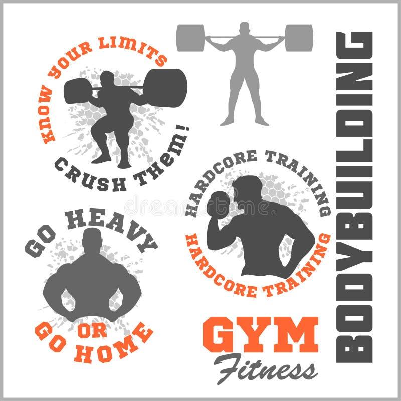 Set nowożytni Bodybuilding i sprawności fizycznej pokoju logowie royalty ilustracja