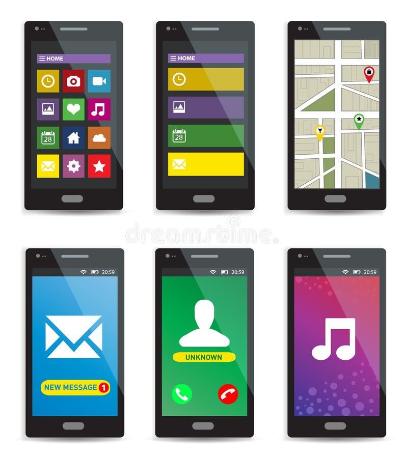 Set nowożytni ekranów sensorowych smartphones z zastosowaniami na ekranach na białym tle royalty ilustracja