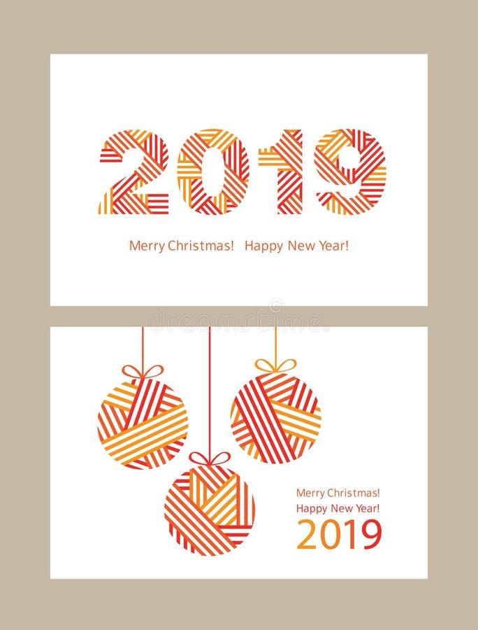 Set nowożytni kartka z pozdrowieniami Szczęśliwy nowy rok 2019 royalty ilustracja