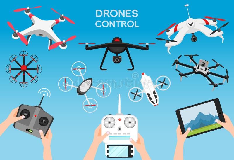Set nowożytni lotniczy trutnie i pilot do tv Nauka i Nowożytne technologie również zwrócić corel ilustracji wektora Radiowy robot ilustracja wektor