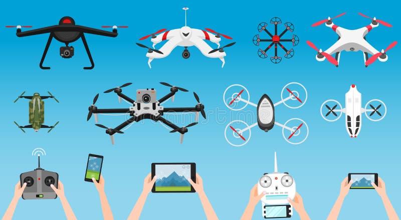 Set nowożytni lotniczy trutnie i pilot do tv Nauka i Nowożytne technologie również zwrócić corel ilustracji wektora Radiowy robot ilustracji