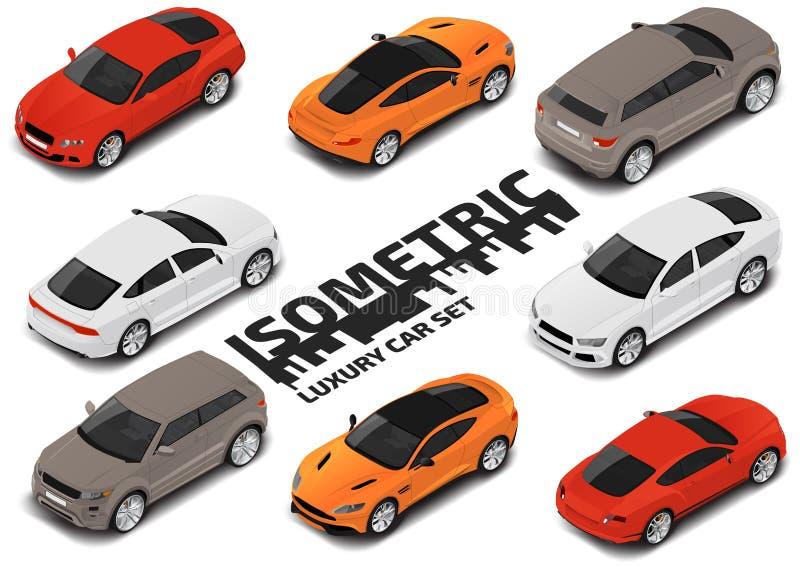Set Nowożytni luksusowi samochody Wektorowy isometric wysokiej jakości miasto transportu ikony set ilustracja wektor