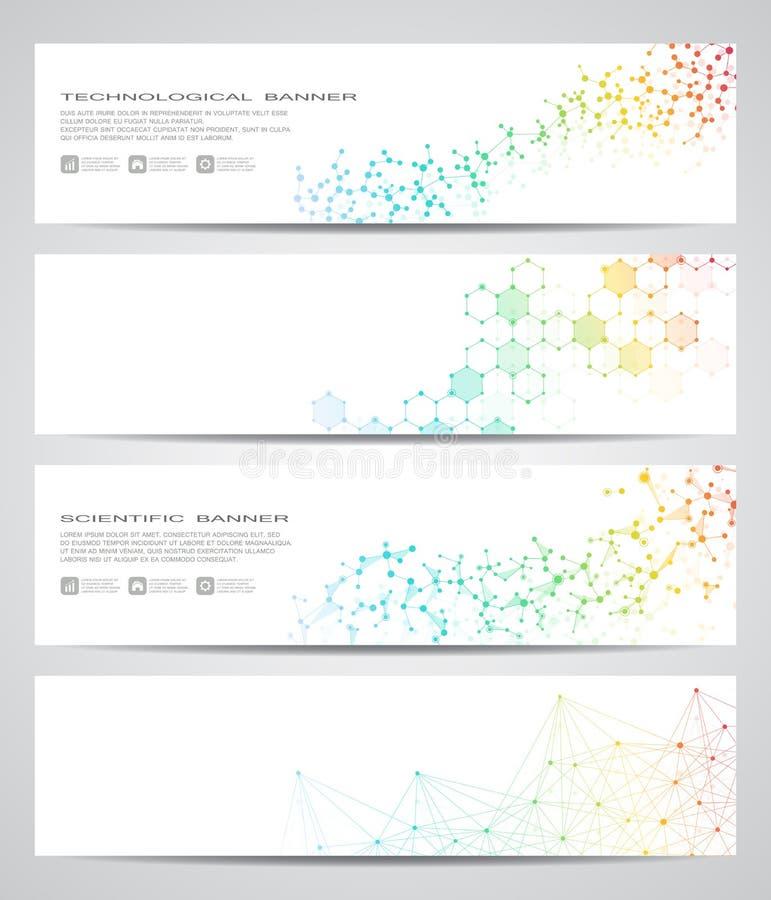 Set nowożytni naukowi sztandary Molekuły struktury DNA i neurony abstrakcyjny tło Medycyna, nauka, technologia ilustracja wektor