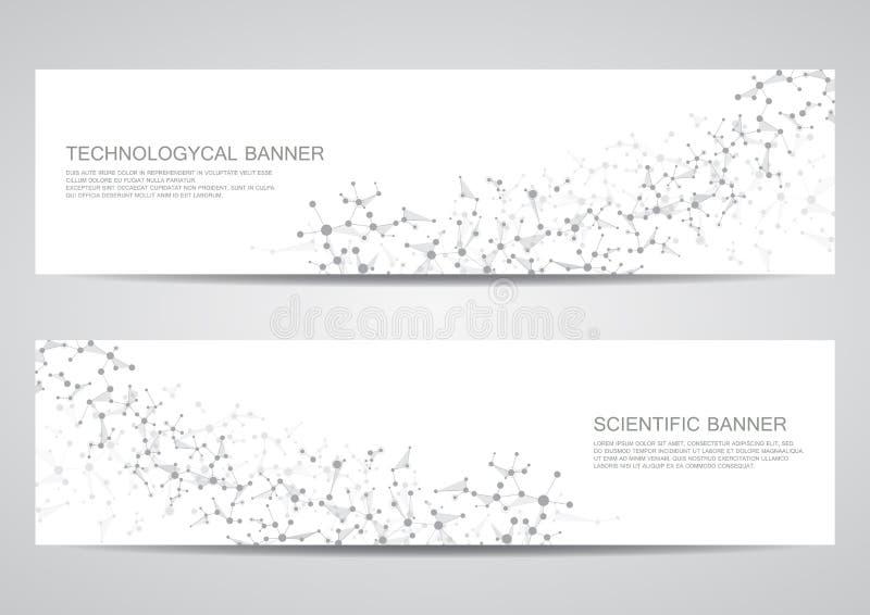 Set nowożytni naukowi sztandary Molekuły struktury DNA i neurony abstrakcyjny tło Medycyna, nauka, technologia, biznes royalty ilustracja