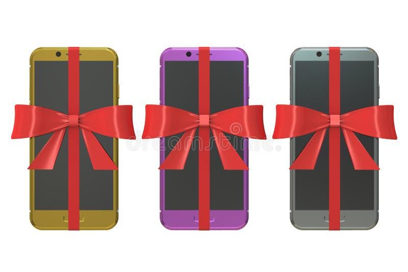Set nowożytni smartphones z łękami i faborkami, prezenta pojęcie 3 royalty ilustracja