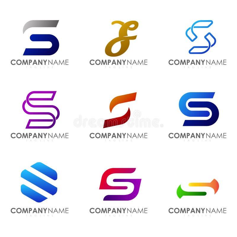 Set nowożytny abecadło logo projekt listowy S zdjęcie royalty free