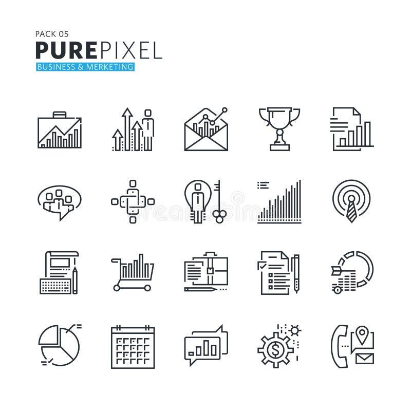 Set nowożytny cienieje kreskowego piksla perfect ikony biznes i marketing ilustracji