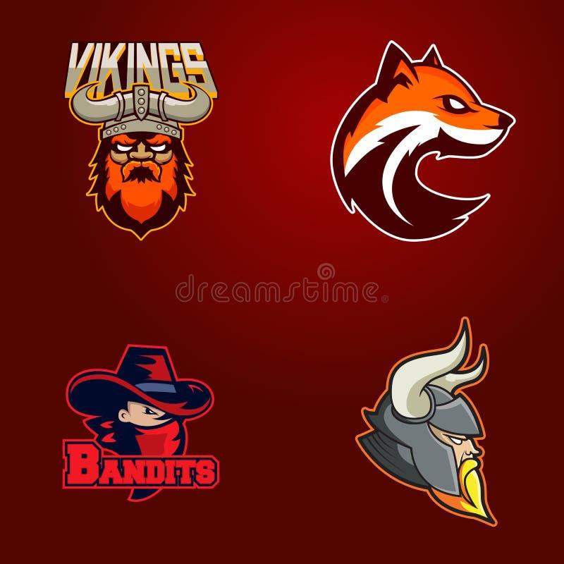 Set nowożytny fachowy logo dla sport drużyny Wikingowie, bandyta, lis maskotki Wektorowy symbol na ciemnym tle ilustracja wektor