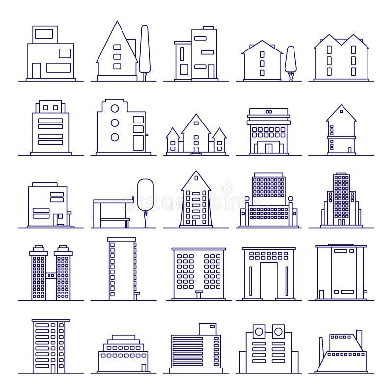 Set Nowożytny Futurystyczny budynek ikon kontur Budynki i domy w minimalista linii ikonie ilustracji