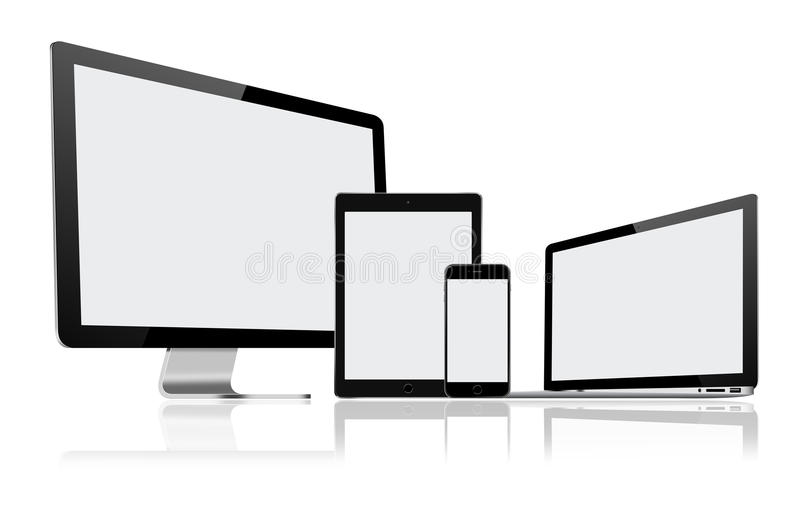 Set nowożytny komputerowy monitor, laptop, pastylka komputer osobisty i telefon komórkowy, royalty ilustracja