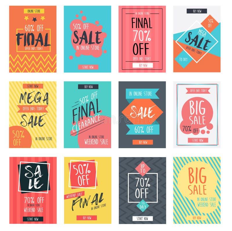 Set nowożytny sprzedaż sztandarów szablonu projekt z kolorowym latem ilustracja wektor