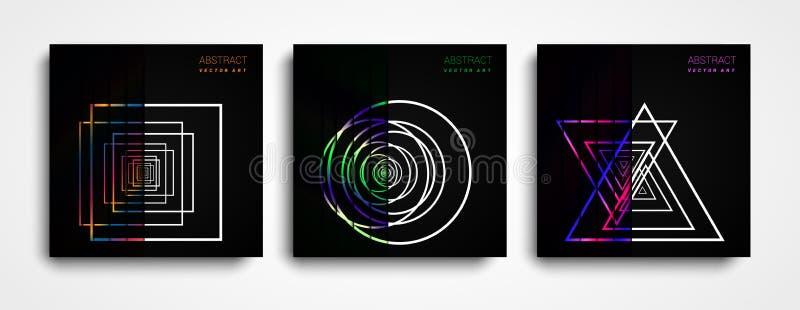 Set Nowożytny Wektorowy abstrakcjonistyczny tło z kolorowymi kształtami Kolorowi halftone gradienty Przyszłościowi geometryczni w royalty ilustracja