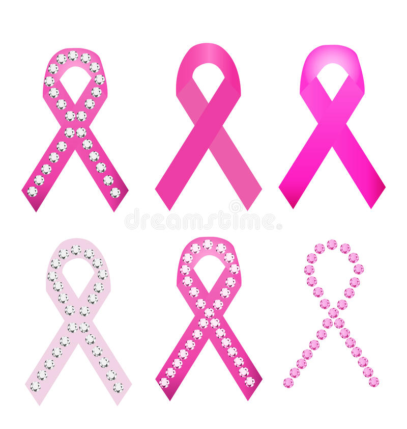 Set nowotwór piersi nagrody faborki royalty ilustracja