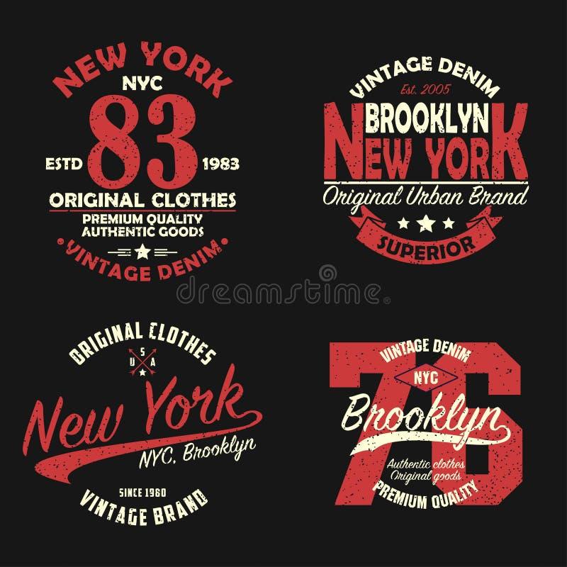Set Nowy Jork, Brooklyn rocznika gatunku grafika dla koszulki Oryginałów ubrań projekt z grunge Autentyczna odzieży typografia royalty ilustracja