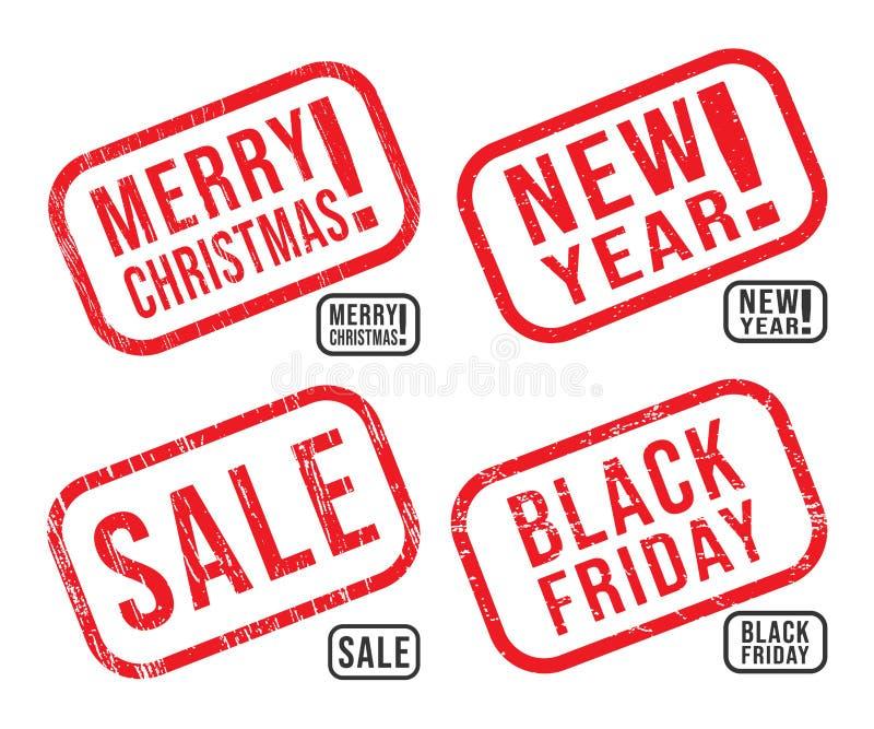 Set nowy rok, boże narodzenia, Black Friday i sprzedaży pieczątki z grunge teksturami, ilustracji