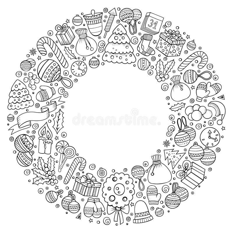 Set nowy rok kreskówki doodle protestuje wokoło ramy royalty ilustracja
