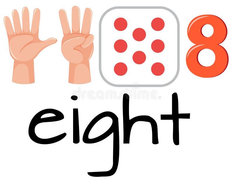 Set of number eight symbol. Illustration stock illustration