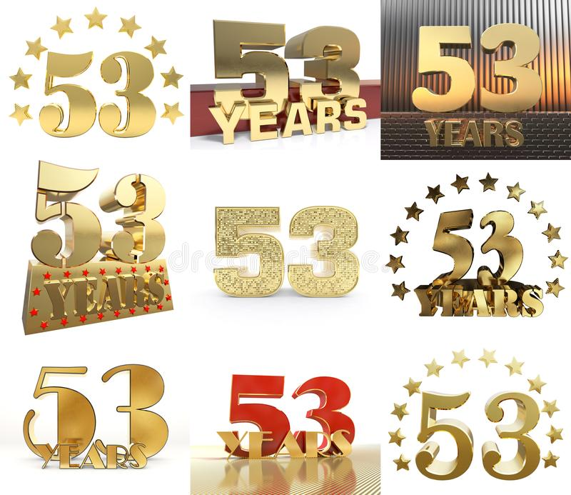 Set Of Number Fifty Three Year 53 Year Celebration Design