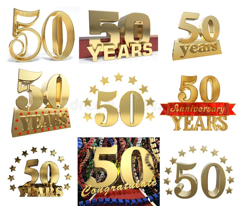 Set of number fifty years 50 years celebration design. Anniversary golden number template elements for your birthday party. 3D illustration vector illustration