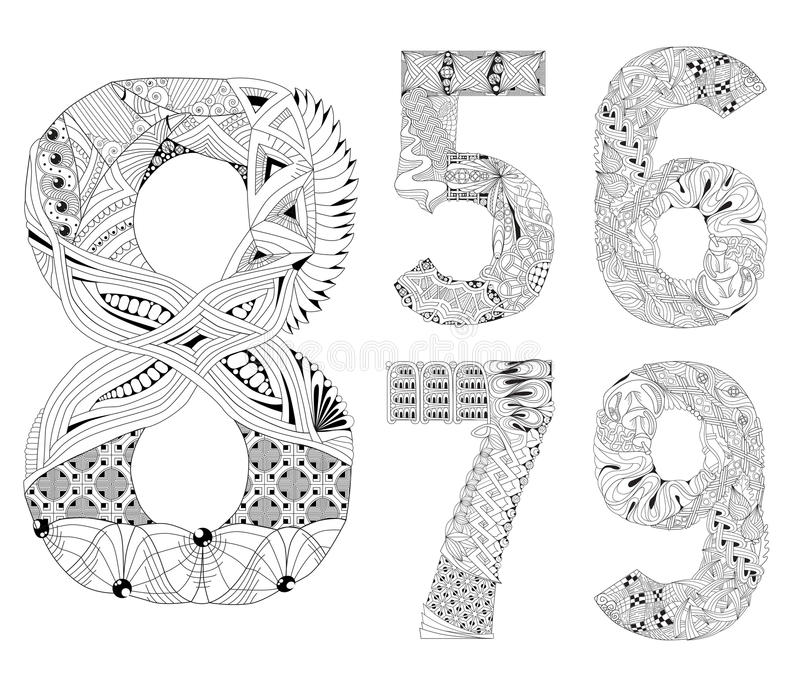 Set of number five, six, seven, eight, nine Zentangle. Vector decorative objects royalty free illustration