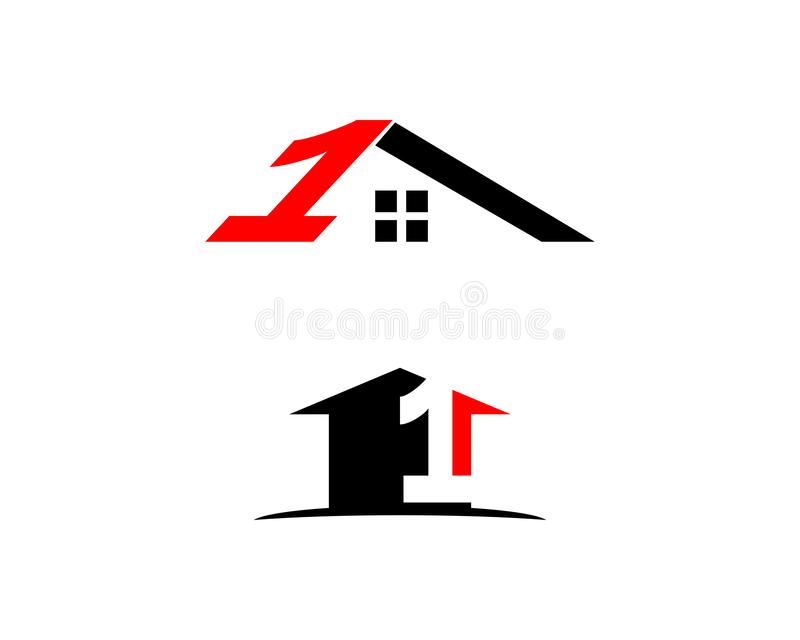Set of Number one 1 real estate sign logo icon design template. Number one 1 real estate logo stock illustration