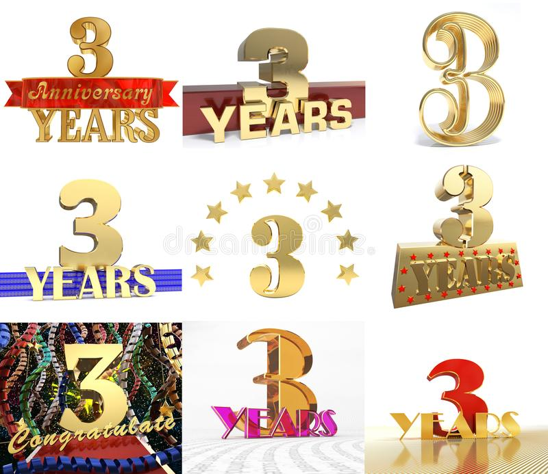 Set of number three years 3 years celebration design anniversary download set of number three years 3 years celebration design anniversary golden number template elements maxwellsz