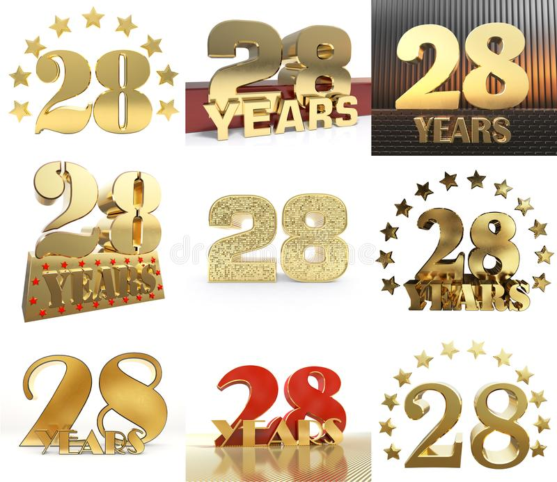 Set of number twenty eight year 28 year celebration design. Anniversary golden number template elements for your birthday party. 3D illustration vector illustration