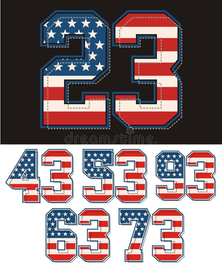 Set numbers america flag textured. Vector image vector illustration