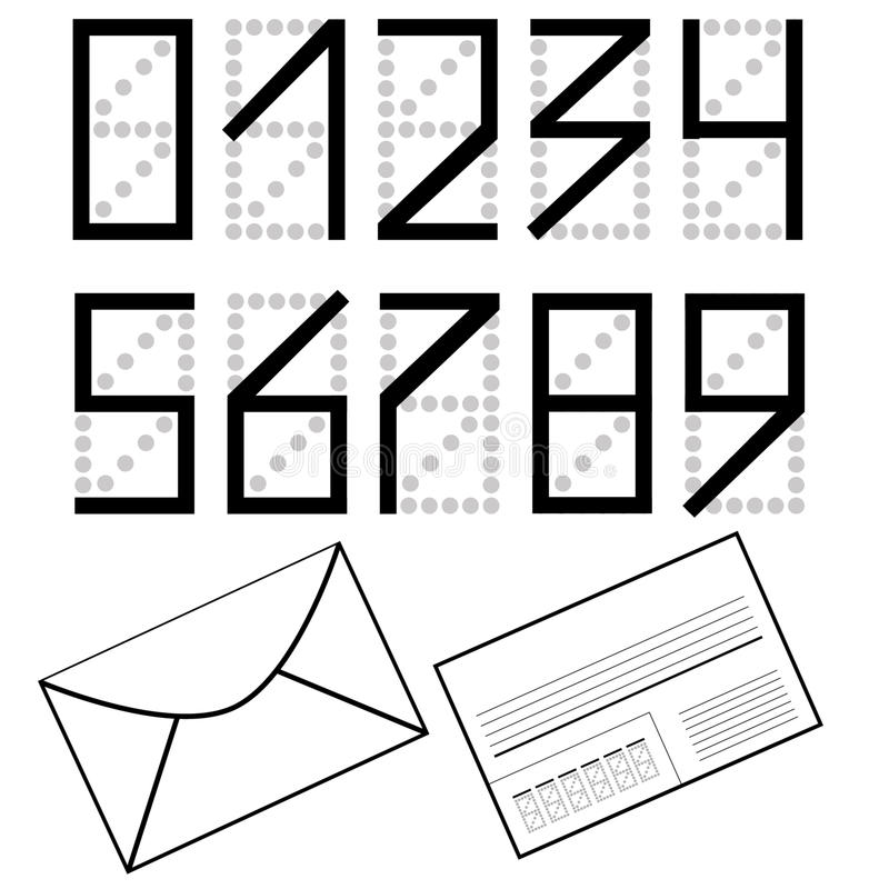 A set of numbers as on the envelope. Mailing envelope. A set of numbers as on the envelope. Black numbers on white background. Mailing envelope. Vector eps 10 royalty free illustration