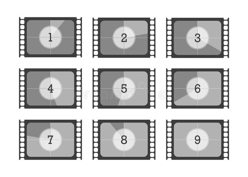 Set numbers countdown movie in flat style vector illustration