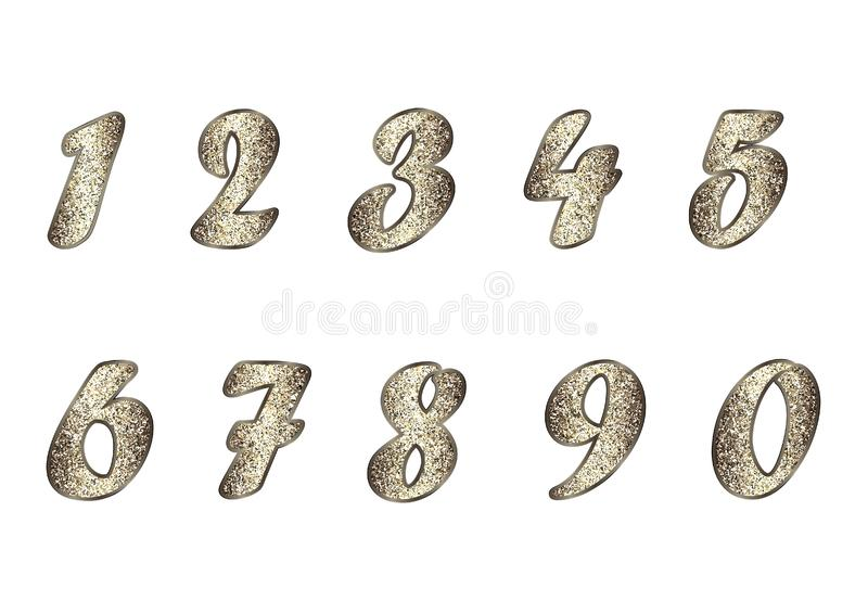 Set of numbers in golden-brown tones. Standard set of numbers. Vector collection in golden-brown tones with spangle. Can can be used as a design element stock illustration