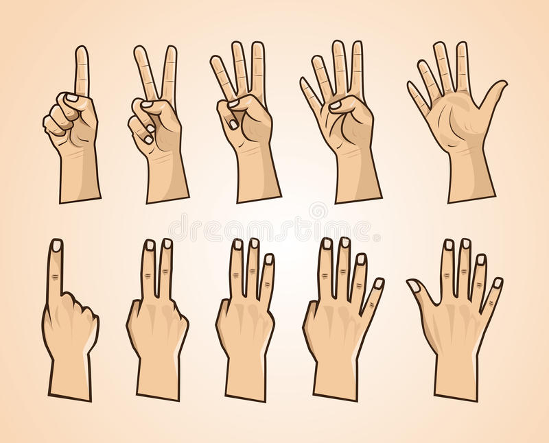 Download Set Of Numbers On The Hands Illustration Stock Vector - Image: 92569574