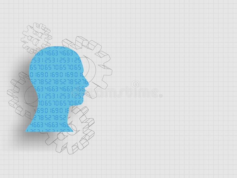 Set of numbers in human head model in front of 3d gears represent concept of design thinking, innovation and investment banking. vector illustration
