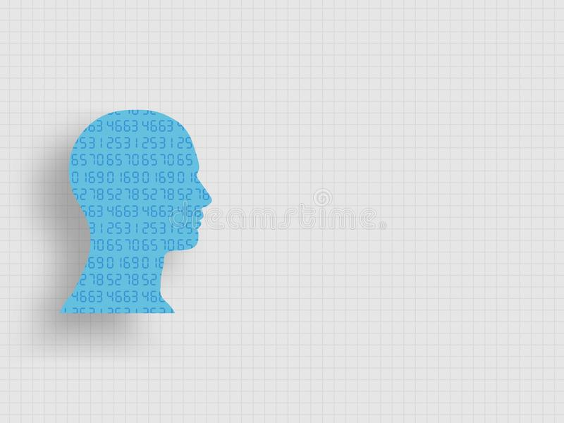 Set of numbers in human head model represent of design thinking, innovation and investment banking. Technology background. stock illustration