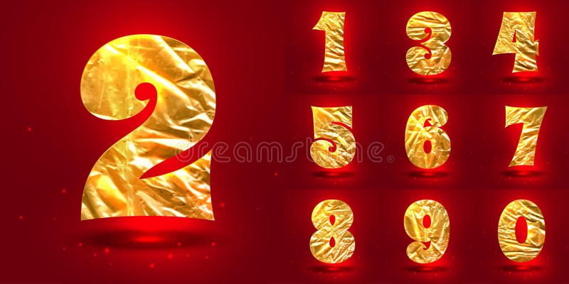 Set of numbers, made of crumpled foil vector illustration