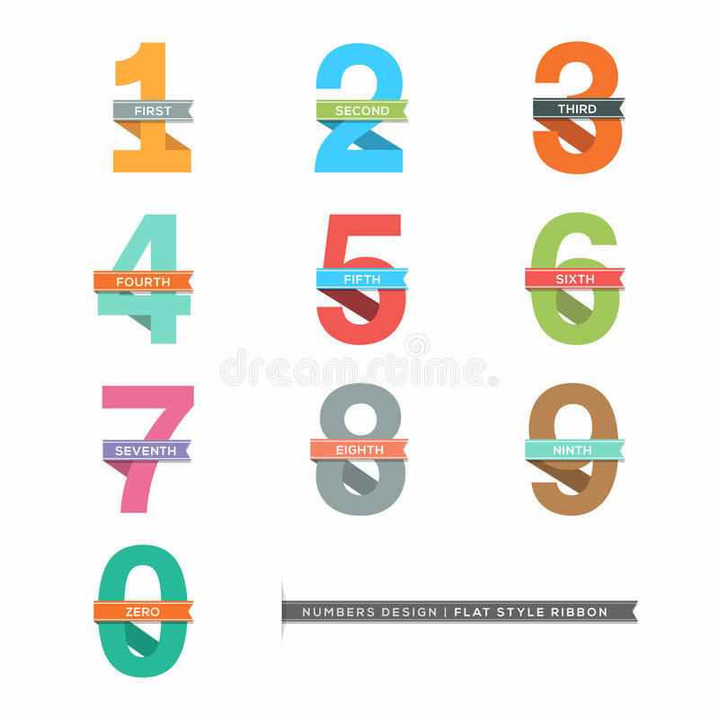 Set of Numbers 0-9 with Ribbons vector illustration