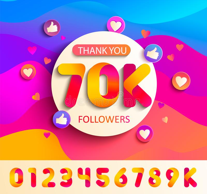 Set of numbers for Thanks follower template design vector illustration