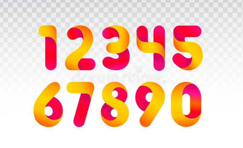 Set of numbers from 0 till 9. royalty free illustration