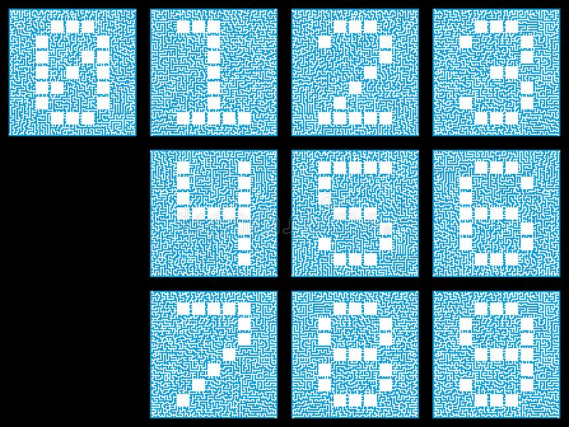 A set of numeric characters from zero to nine. Stylized numbers inside a complex maze. Blue and white isolated on black royalty free illustration