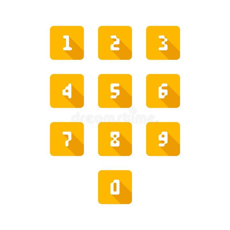 Set numerowe ikony 0-9 piksli liczb r?wnie? zwr?ci? corel ilustracji wektora ilustracji