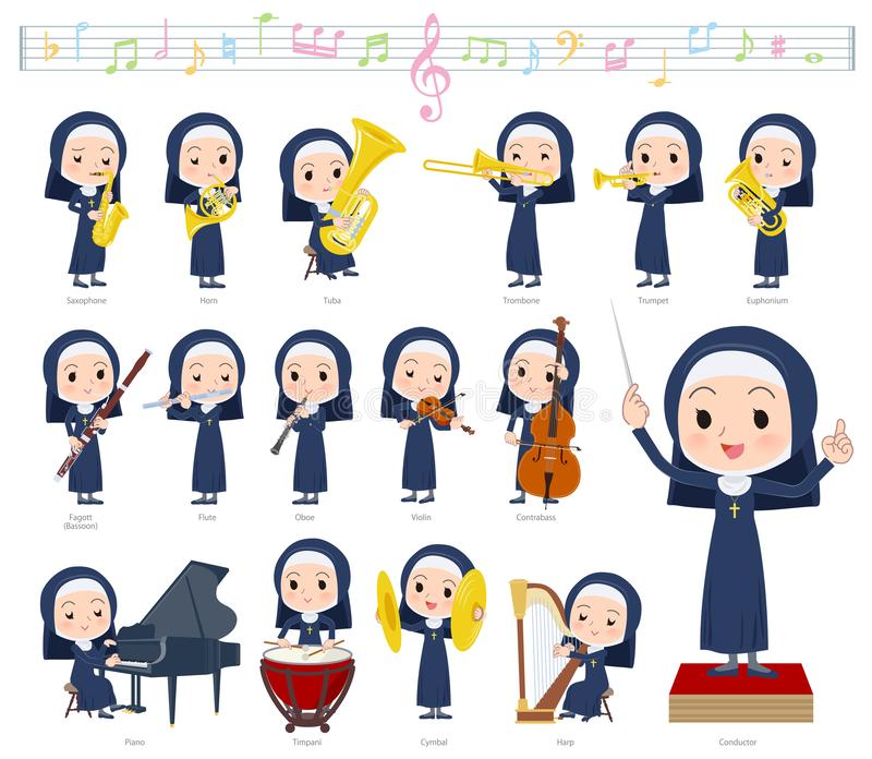 Nun women_classic music. A set of Nun women on classical music performances.There are actions to play various instruments such as string instruments and wind royalty free illustration