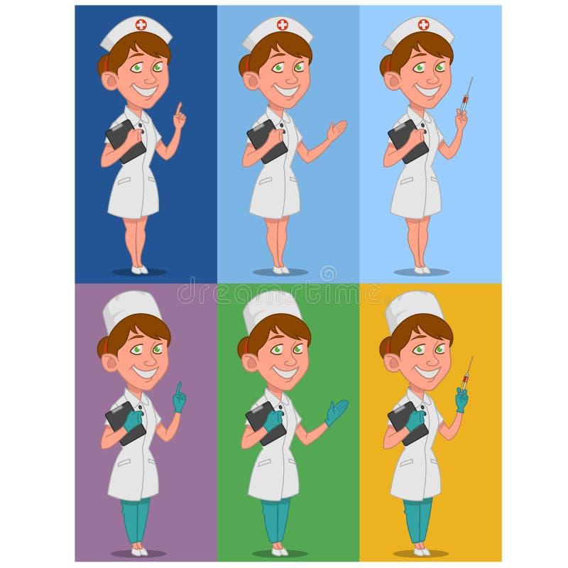 Set of nurses. Vector illustration. beautiful nurse royalty free illustration